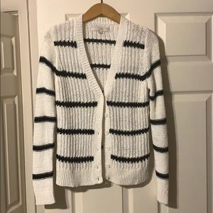 NWOT LOFT / B&W striped knit cardigan